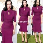 Formal Vintage Women Cocktail Party Ball Gown Pleated Bodycon Pencil Dress 823