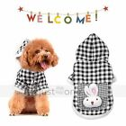 Cute Rabbit bag Doggie Puppy Dog Apparel Black White Plaid Lattice Hoodie Coat