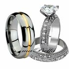 Sparkle Mens Tungsten Womens Stainless Steel AAA CZ Engagement Wedding Ring Set