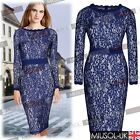 Ladies Lace Floral Bodycon Cocktail Party Evening Office Tea Dresses Size 810246