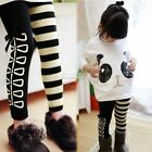 Girls Outfits sets for Kids Panda Batwing Pullover Tops +Striped Pants Leggings