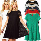 Women's Floral Lace Short Sleeve Cocktail Evening Loose Princess Mini Fall Dress