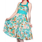 Banned Apparel Tropical Floral Light Blue Rockabilly 50s Vintage Pinup Dress