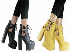 NEW LADIES CLEATED SOLE CHUNKY PLATFORM HIGH HEEL CUTOUT ANKLE SHOE BOOT SIZE3-8