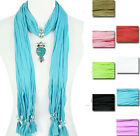 New Girls Women Various Colors Jewelry Scarf with Cute Owl Pendant Charm Scarves