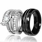 His Black Tungsten Hers Stainless Steel 2.75Ct Engagement Wedding Rings Band Set