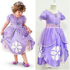 New Fancy Kids Baby Girls Purple Princess Clothes Costumes Queen Cosplay Dress