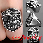Gothic 316L Stainless Steel Men's Eagle Hawk Shield Finger Ring Biker US9-13