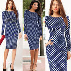 Womens Bussiness Polka Dot Style Long Sleeve Bodycon Fit Tea Dresses Size 681024