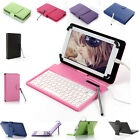 New Folio Stand Leather Keyboard Case Cover for 7 8 10 Tablet w / Free Stylus