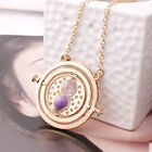 Harry Potter Hermione Granger Rotating Time Turner Necklace Gold Hourglass 12pa