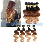 "Ombre 14""-28"" Brazilian Remy Body Wave Wavy Unprocessed Human Hair Extensions"