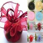 10 FANCY ROUND SHEER GLITTER TRIM ORGANZA WEDDING FAVOURS SMALL GIFTS  26cm