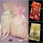 10 PRINTED ORGANZA BAGS WEDDING FAVOURS JEWELLERY SMALL GIFT MANY COLOURS SIZES