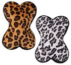 SAFARI SQUEEZER DOG TOY - Soft Plush Squeaker Animal Print Bone Dog Puppy Toy