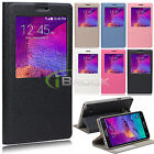 Folio Leather Window View Stand Case Flip Cover for Samsung Galaxy Note 4 N910