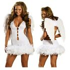 Ladies Angel Halloween Costume Fancy Dress Outfit Black Sexy Wings Feathers Size