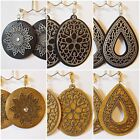 WOOD Ornate large CLIP or Pierced Fashion Earrings 1 Pair Choose Style/Shape