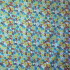 FFA-115 CUTIE FLORAL ON LIGHT BLUE COTTON LINEN CANVAS FABRIC BY 0.5 Yard