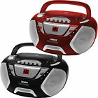 Portable CD Cassette Player Boombox Boom Box Music AM FM Radio Black Red New