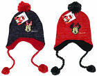 Girl's Disney Minnie Mouse Knitted Fleece Lined Peruvian Bobble Hat 3-12 yrs NEW