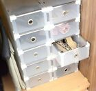 Periea Plastic Stackable Shoe Storage Organiser Drawer Box Metal Frame Wardrobe