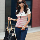 Chic Women Lady Striped Crew Neck Long Sleeve Slim T-shirt Blouse Top 3 color