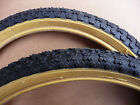 Pair Retro Old School Comp 3 Tread BMX Bicycle Tyres Amber Wall New Burner Bike