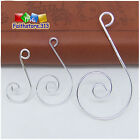 20/100 Silver Wire Swirl Scroll Christmas Ornament Hooks Hangers 30mm/36mm/55mm