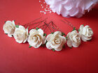 6 LARGE 25mm ROSE HAIR PINS GRIPS FLOWER WEDDING BRIDESMAID ACCESSORIES.