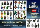 Lego BATMAN TEMPORARY TATTOOS X8  last 1 week+ waterproof choice  5 sets tattoo