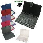 Micro USB Keyboard PU Leather Stand Case Cover For 7 9 10.1 Android Tablet PC
