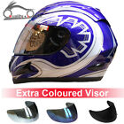 LEOPARD Full Face Motorcycle Motorbike Helmet Blue Graphic Extra Coloured Visor