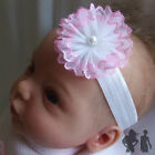 BABY STRETCH HEADBAND, PINK / WHITE LACE FLOWER, Maggie 7 Design