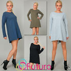Cotton Women's Shift Dress Long Sleeve Crew Neck Modern Style Size 10 -12 FT1342