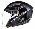 OPEN Face Crash Helmet by Qtech with VISOR Scooter Motorbike Motorcycle - BLACK