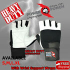 Weight Lifting Gloves White Leather Wrist Support Strap Gym Bodybuilding Gloves