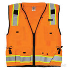 Mens Vest ML Kishigo Pro Class 2 Surveyors Hi-Vis Safety Utility Pockets Vest