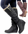 Ladies Womens Leather Style Knee High Low Mid Wedge Fur Lined Riding Boots Size
