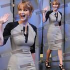 Women's 3/4 Sleeves Stretch Bodycon Jersey Midi Party Pencil Dresses Size 182046