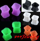 2pc Rhombus Pair Flexible Silicone Double Plugs Flare Tunnel Earlets Expander