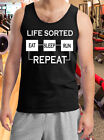 Gym Vest T-Shirt Weight Lifting Running Tank Top Work Life Sorted Eat Sleep Run