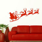 LARGE XMAS FATHER CHRISTMAS DECORATIONS SANTA SLEIGH WALL STICKER DECAL TRANSFER