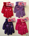 2 x pairs of Magic Winter Warm Gripper Soft Girls Gloves Pink Purple Red