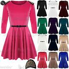 Womens Ladies 3/4 Sleeves Gold Stud Spikes Belted Flared Skater Dress Plus Size