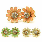 Daisy Flower Stud Earrings with Crystal Stones in Gift Case New