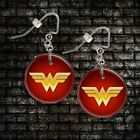 "**WONDER WOMAN** Choice Of 1"" Button Dangle Earrings **FREE PIN** ~~USA Seller"