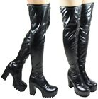 NEW LADIES WOMEN  BLACK THIGH CHUNKY BLOCK CLEATED SOLE BOOT SIZE 3 - 8