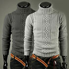 Men Casual Slim Knitted Turtleneck Chunky Cardigan Pullover Jumpers Sweaters Top