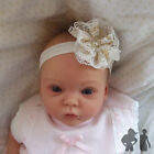 BABY STRETCH HEADBAND,GOLD / WHITE LACE FLOWER,XMAS, Maggie 7 Design